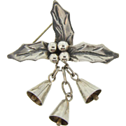 Marked 925 silver Mexico Christmas Brooch with holly and bells