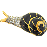 Signed Kenneth Lane figural snail Brooch with black enamel and crystal rhinestones