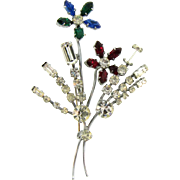 Large colorful floral spray rhinestone Brooch