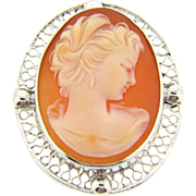 Signed Sorrento carved shell cameo Brooch in sterling silver frame