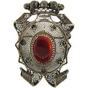 Marked 800 1920's Chinese import regal Brooch with carnelian stone