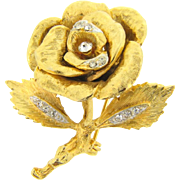 Rose design floral Brooch with rhinestones accents