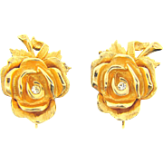 Beautiful bright gold tone rose clip on Earrings with crystal rhinestone accents