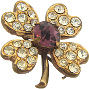Small vintage rhinestone 4 leaf clover Scatter Pin