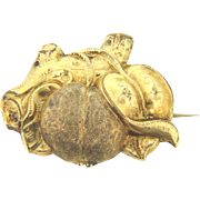 Victorian gold filled Brooch of peach leaf and branch