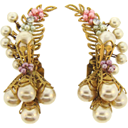Fabulous clip on long earrings with imitation pearls, floral clusters and rhinestones