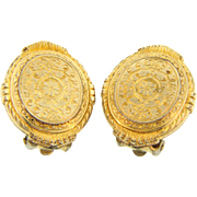 Lovely gold filled clip on Earrings with hand chased design