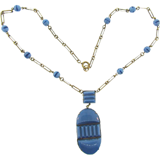 Vintage Art Deco Czechoslovakia Necklace with molded blue glass pendant and blue beads