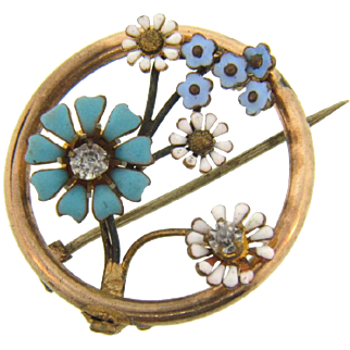 Late 1800's gold filled Brooch with enameled flowers