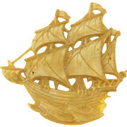 Vintage celluloid sailing ship Brooch