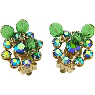 Signed Weiss clip on Earrings in blue and green rhinestones and beads