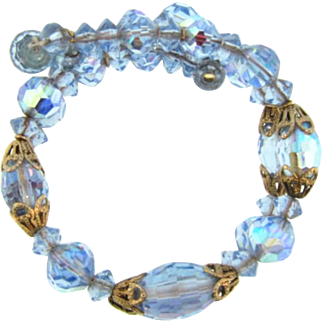 Beautiful memory coil wire Bracelet with blue crystal beads