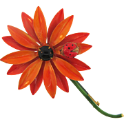 Original by Robert flower Brooch with Lady Bug