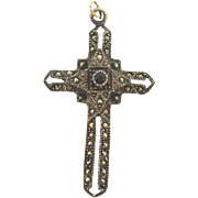 Gorgeous Sterling 925 Cross Pendant with marcasites and small center garnet stone