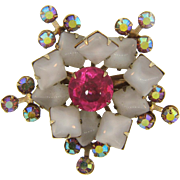 Beautiful 1960's rhinestone Brooch with unique opaque and AB stones