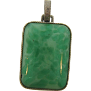 Vintage Peking Glass Pendant in Silver Tone Frame