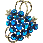 Beautiful 1960's silver tone Brooch with cluster of deep Blue rivoli rhinestones