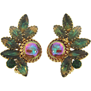 Unusual large rhinestone clip on 1960's Earrings