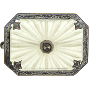 Small camphor glass Brooch with marcasite center stone
