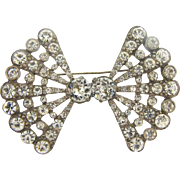 Very large white metal 1940's bow shaped crystal rhinestone Brooch
