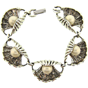 Signed Judy Lee silver tone link Bracelet with shells and imitation pearls