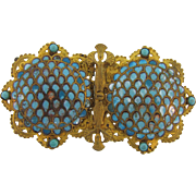 Ornate Victorian champleve 2 piece Belt Buckle in turquoise enamel and small beads
