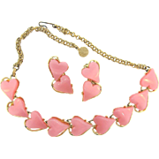 Sweet thermoset pink heart choker Necklace and matching clip on earrings