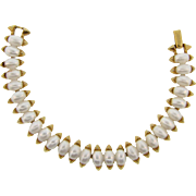 Signed Crown Trifari link Bracelet with imitation pearls