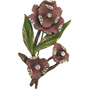 1940's pot metal flower Brooch with Mauve and Green Enamel and Crystal Rhinestones
