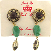 Vintage 1970's Park Lane dangling Lucite drop clip on Earrings on original card