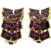 1960's beautiful clip on rhinestone Earrings in shades of purple