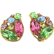 Lovely 1950's pastel springtime rhinestone clip on Earrings