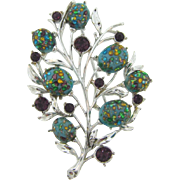 Signed Coro silver tone Brooch with purple rhinestones and confetti cabochons
