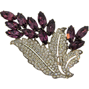 Gorgeous 1940's large white metal Brooch with crystal and deep purple rhinestones