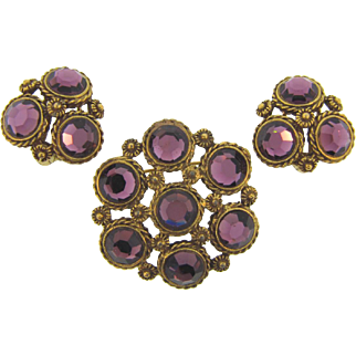 Attractive Etruscan style purple rhinestone Brooch and clip on Earrings