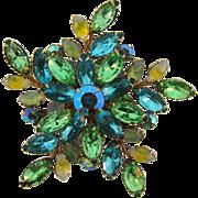 Large vintage floral design 1960's rhinestone Brooch