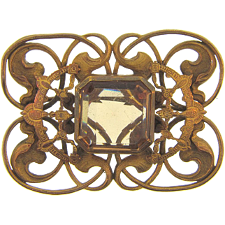 Victorian Egyptian themed Sash Pin with center light topaz colored glass stone