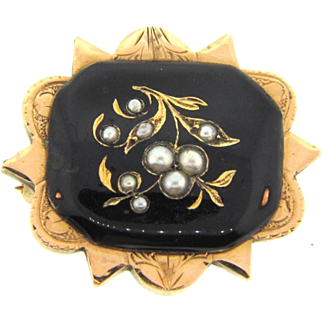 Small early 1900's gold filled Scatter Pin with floral design and small seed pearls