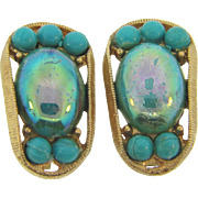 Vintage clip on Earrings with turquoise colored glass iridescent cabochon and composition beads