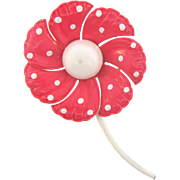 1960's pretty pink enamel flower Brooch with white polka dots