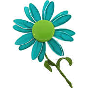 1960's daisy flower Brooch in shades of blue and green enamel