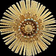 Large atomic or sunburst Brooch with AB rhinestones
