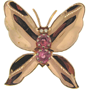 Large 1940's rose gold tone butterfly Brooch