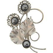 1960's silver tone floral Brooch with hematite stone beads