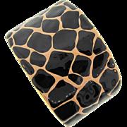 Signed KJL (Kenneth J Lane) wide tortoise shell print enamel Cuff Bracelet