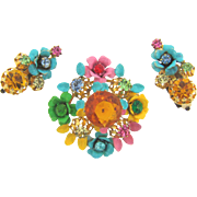 Made in Austria brightly colored floral enamel Brooch and clip on Earrings with rhinestones