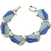 1950's vintage thermoset link Bracelet with two tone blue inserts