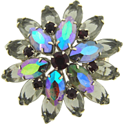 Unique domed layered rhinestone Brooch with smokey, AB and red rhinestones