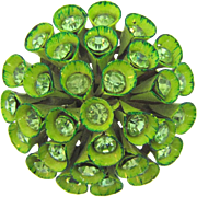 Unique 1960's domes floral Brooch in shades of green