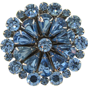 Vintage 1960's floral rhinestone Brooch in shades of blue